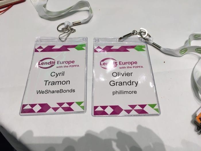 Cyril tramon de WeShareBonds et Olivier Grandry de Phillimore à LendIt 2016